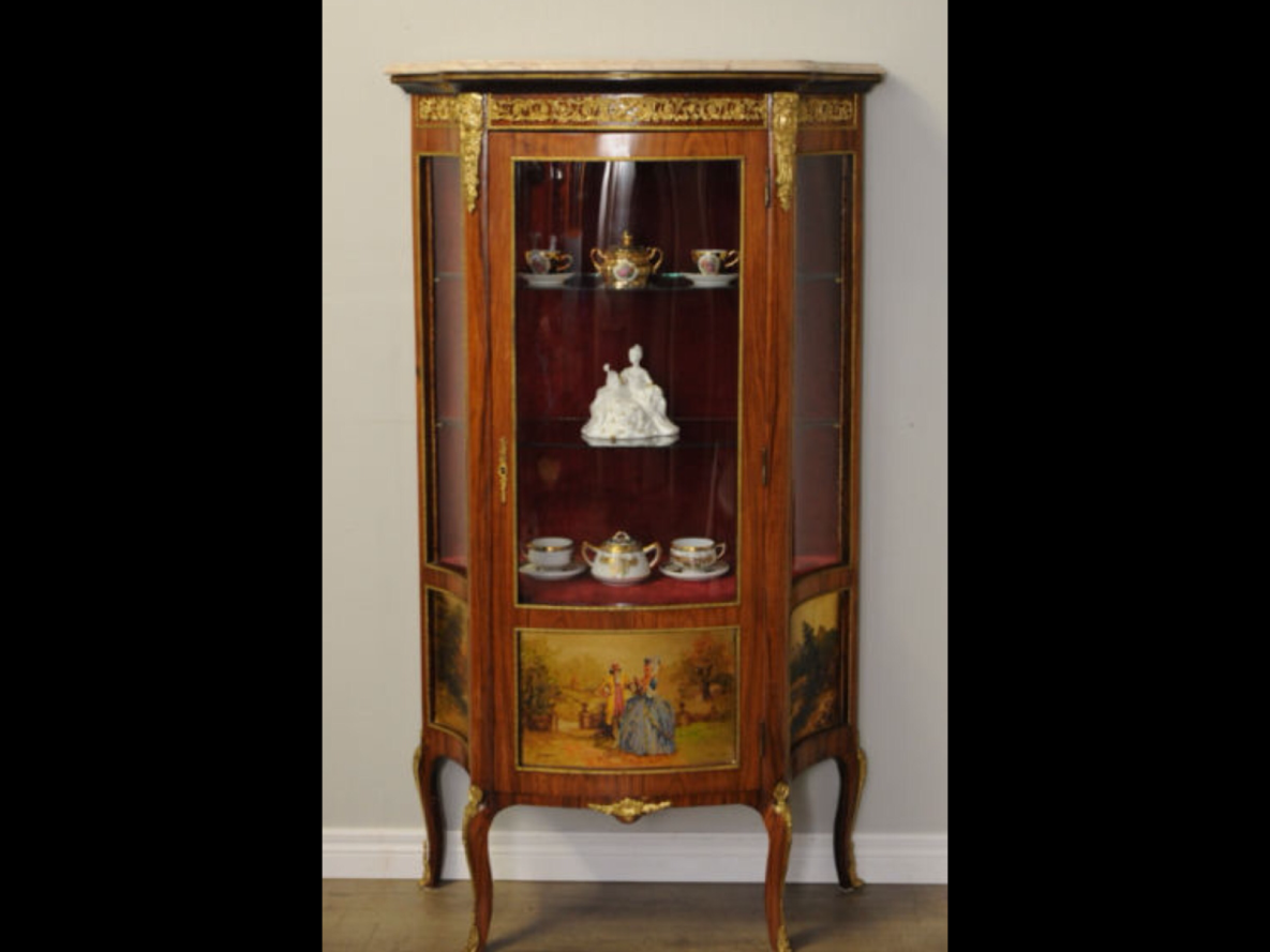A French Curved Glass Vitrine Or Curio Display Cabinet